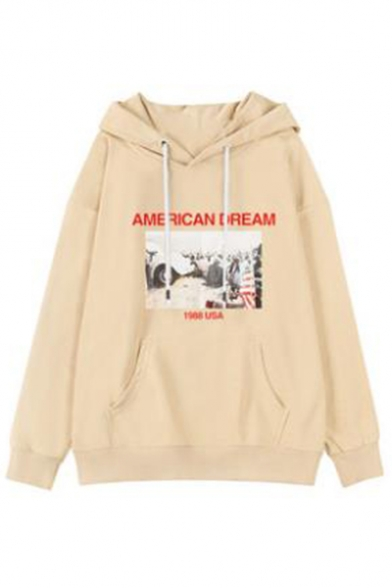 Photo Letter Vintage Long Printed Hoodie DREAMS MERICAN Sleeve F5xw7tx