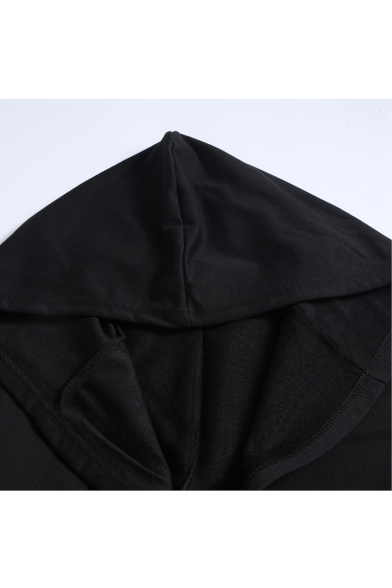 Open Front Long Sleeve Plain Tunic Hooded Coat