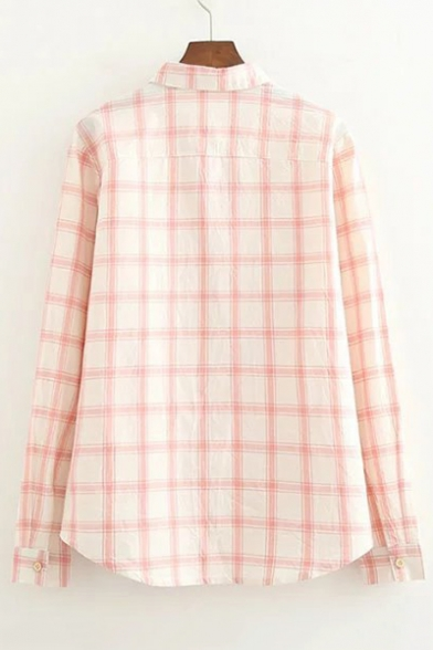 Plaid Sleeve Cherry Front Shirt Long Button Embroidered Printed rWrzwqS4