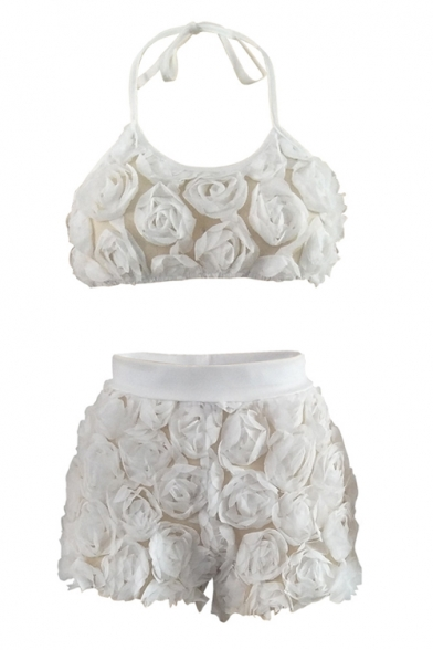 Sleeveless Sexy High Halter Embellished Co Crop Shorts Slim Floral ords Cami with Waist a11tqfw