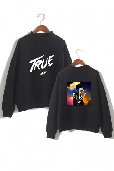 Printed Graphic Letter Long High TRUE Sweatshirt Sleeve Neck qfUwnPx