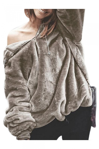 Winter Collection Plain Faux Fur Long Sleeve Hoodie