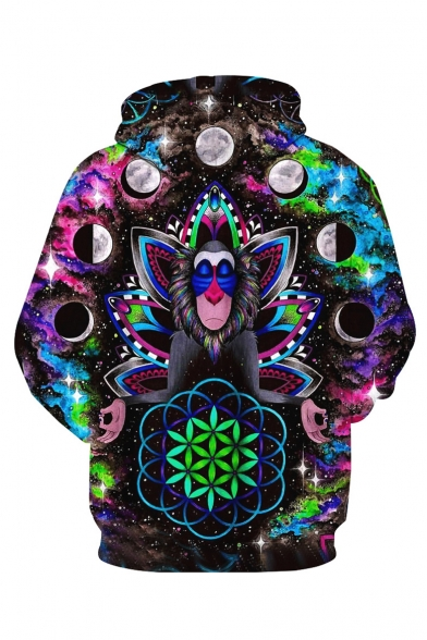 Sleeve Printed Monkey Long Hoodie Oversized 3D Planet wqOfxzn8