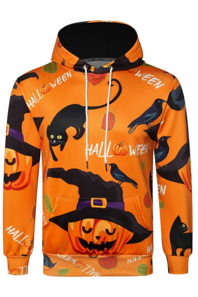 3D Pumpkin Letter Cat Printed Long Sleeve Hoodie