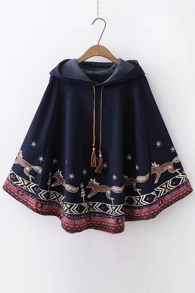 Fox Printed Cape Loose Cartoon Leisure Hooded 07qnwp