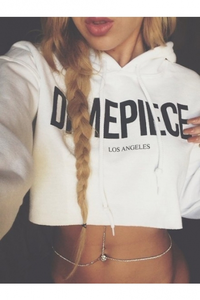 Chic Simple Letter Printed Long Sleeve Crop Hoodie