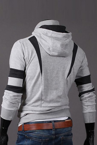 Color Block Layered Zip Closure Long Sleeve Hoodie