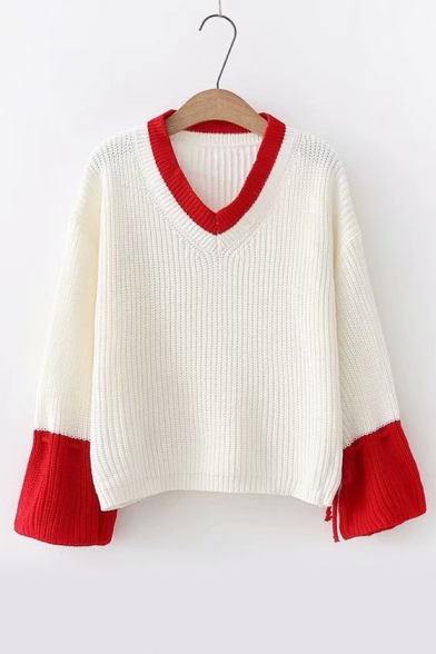 Color Block V Neck Long Sleeve Chic Sweater