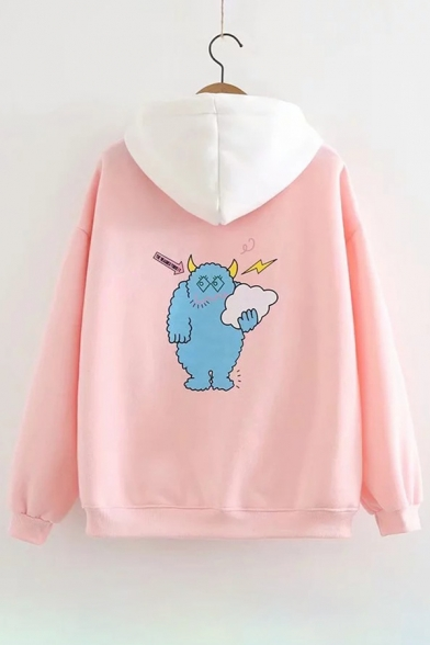 Hoodie Cartoon Sleeve Hood Long Letter Embroidered Cloud Contrast zAqO0W