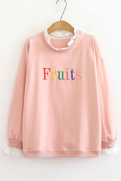 Sleeve Letter FRUITS Trim Round Lace Insert Sweatshirt Long Neck 0adWaqn