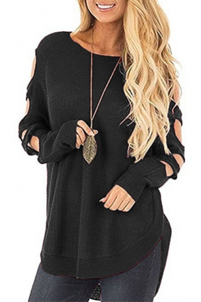 Baycheer / Hollow Out Long Sleeve Plain Round neck Loose Dip Hem Sweater