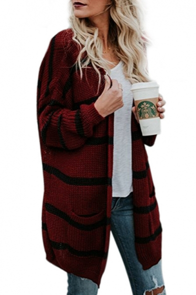 Striped Collarless Long Sleeve Casual Tunic Cardigan