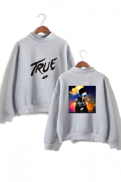 Long High Printed Sweatshirt Sleeve Graphic Letter Neck TRUE wx1zvXtv