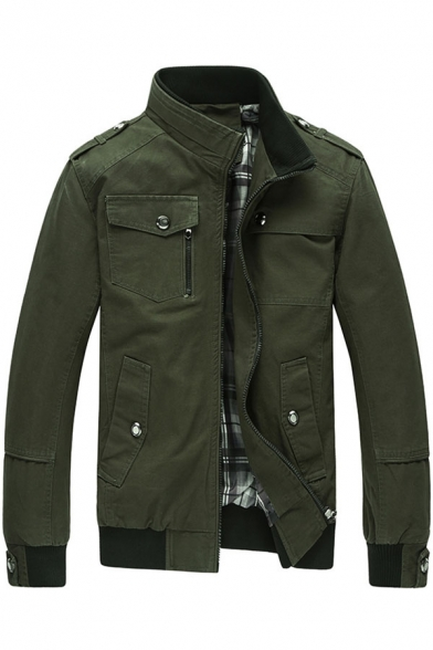 Plain Jacket Sleeve Up Collar Zip Long Stand Military Up x8qgwYZ