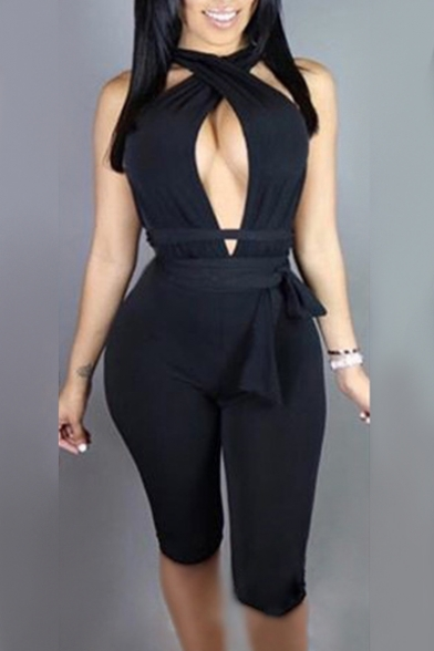Image of 2-Way Plain Hollow Out Sexy Skinny Romper