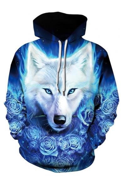 3D Hoodie Sleeve Unisex Wolf Printed Rose Long rwYarZ