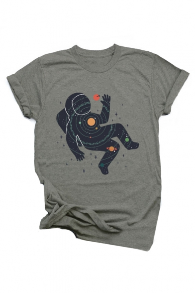 Neck Sleeve Universe Printed Round Short Astronaut Shirt T TqXOwRHpx