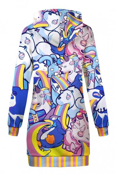 Sleeve Mini Dress Hooded Animal Cartoon Long Printed Ow8tpR