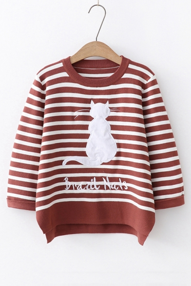 Letter Sweater Cat Printed Embroidered Round Long Striped Sleeve Neck SdwZPq8