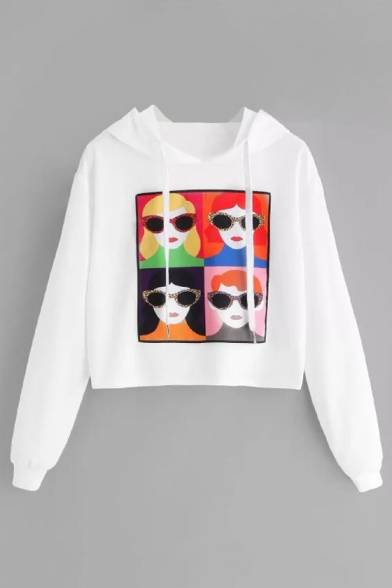 Long Chic Girl Hoodie Printed Cartoon Crop Sleeve Glasses 6f4ST