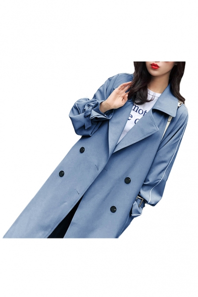 Contrast Piping Long Sleeve Notched Lapel Collar Tunic Slim Coat