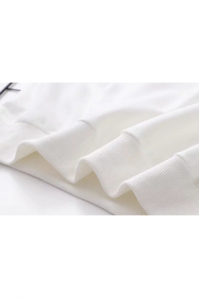 Long Round Neck Sweatshirt Pullover Embroidered Sleeve Deer tZvRqxt