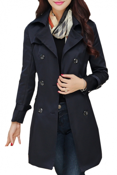 Waist Trench Collar Breasted Tie Double Lapel Coat Long Plain Sleeve Tunic qFYWnagW