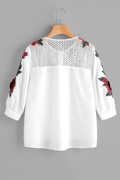 Floral Embroidered Hollow Out Detail Round Neck Button Front 3/4 Length Sleeve Blouse