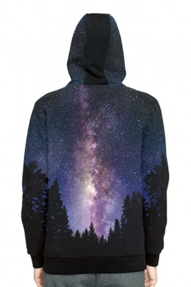 Forest Long Sports Hoodie Sleeve Galaxy Printed PzdwnT
