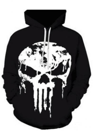 Guys Skull Printed Long Sleeve Casual Hoodie