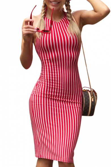 Halter Sleeveless Striped Printed Midi Pencil Dress