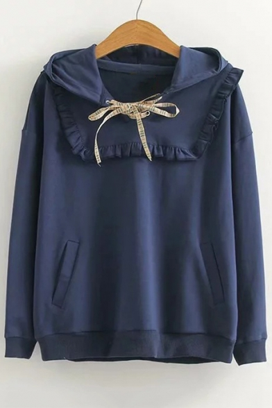 Lace Up Front Ruffle Detail Plain Long Sleeve Leisure Hoodie