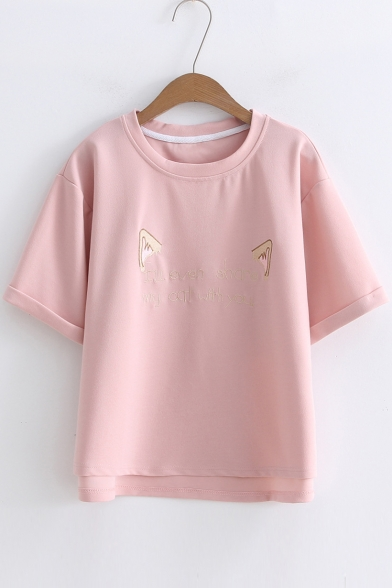 Embroidered Letter Tee Round Cat's Short Ears Neck Sleeve rfpEfwqx06