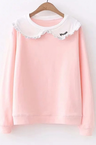 Doll Embroidered Letter Sleeve Long Leisure Sweatshirt Collar 5UwxS6