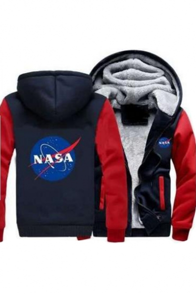 NASA Printed Long Jacket Sleeve Graphic Zip Hooded Up Letter Leisure qI1wrIE