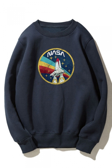 Cool Rocket Letter Nasa Pattern Crew Neck Long Sleeve Relaxed Fitted Graphic Pullover Sweatshirt