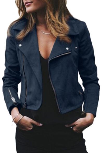 Notched Lapel Collar Long Sleeve Offset Zip Closure Crop Jacket