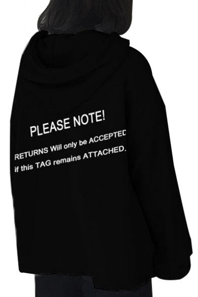 PLEASE NOTE Letter Printed Long Sleeve Loose Hoodie