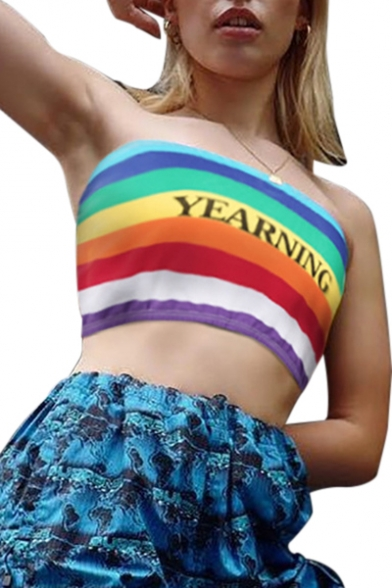 YEARNING Crop Rainbow Printed Letter Striped Sleeveless Bandeau XnprXf7