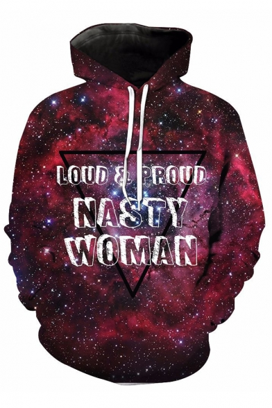 Long Galaxy Sleeve 3D Triangle Hoodie Printed Letter FqHFaIz
