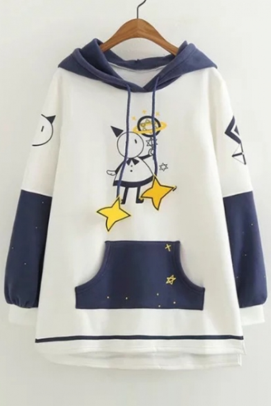 Color Block Cartoon Character Star Printed Long Sleeve Casual Hoodie