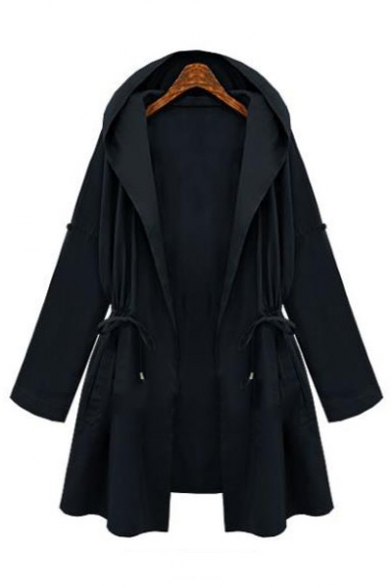 Drawstring Waist Plain Long Sleeve Hooded Coat
