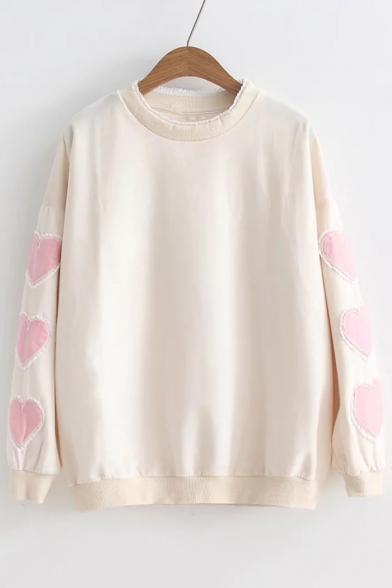 Pattern Sweatshirt Neck Heart Long Round Applique Sleeve 7xdZaqYZ