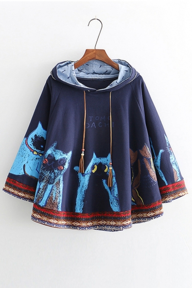 Painting Cat Letter Printed Loose Hooded Cape