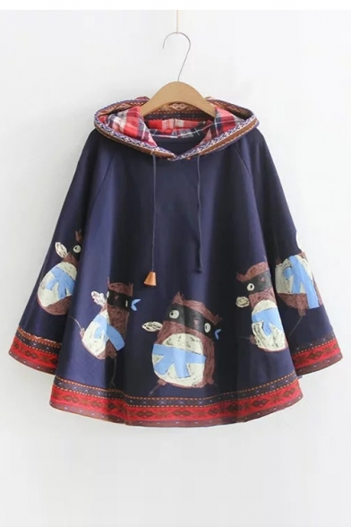 Cartoon Animal Printed Long Sleeve Cape Hoodie