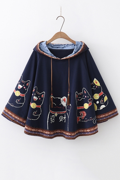 Cat Chinese Printed Loose Hooded Cape