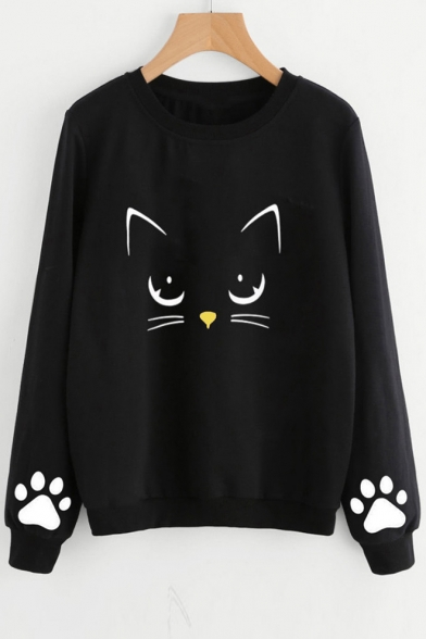 Cat Paw Printed Round Neck Long Sleeve Casual Sweatshirt