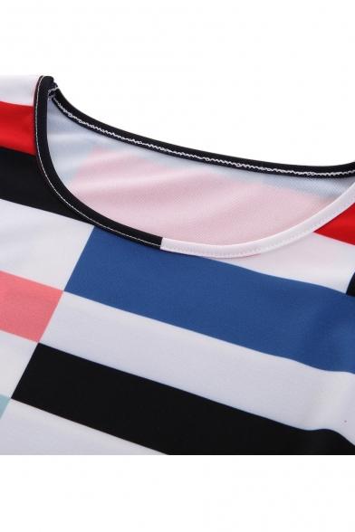 Color Block Geometric Printed Round Neck 3/4 Length Sleeve Mini A-Line Dress