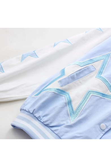 Color Block Star Pattern Embroidered Long Sleeve Button Closure Hooded Jacket