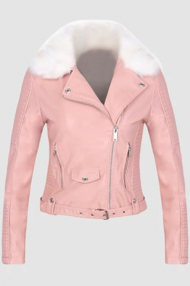 Crop Faux Jacket Fur Up PU Plain Zip Long Collar Sleeve 6Owcrn6Bq